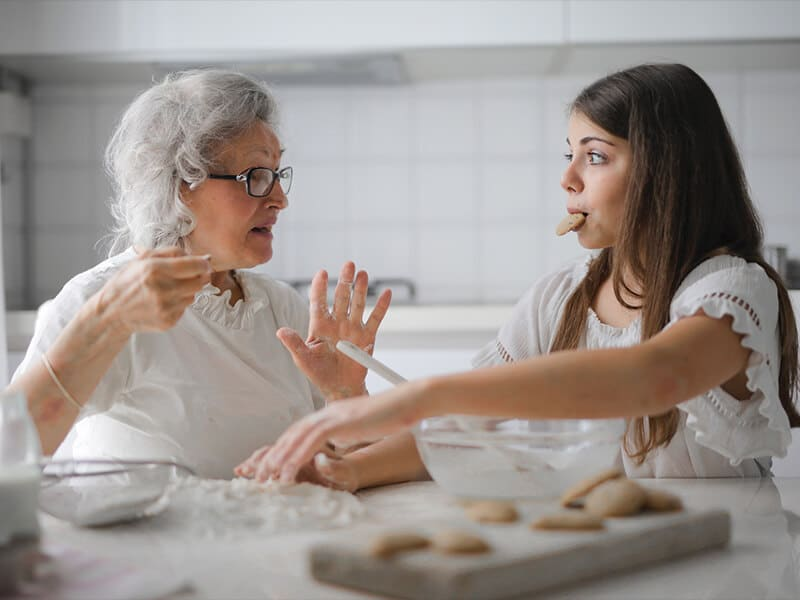 baking with grandmother