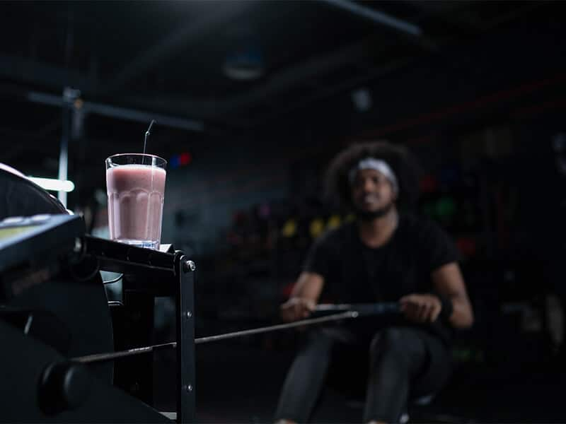 gym with smoothie