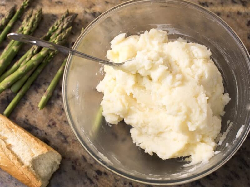 mashed potato with spoon
